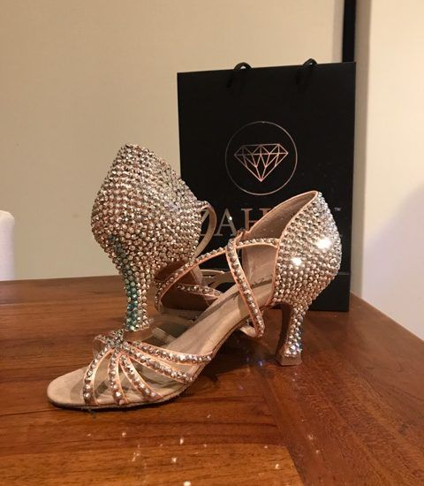 Rhinestone Ballroom Dance Shoes - Zahira Crystal